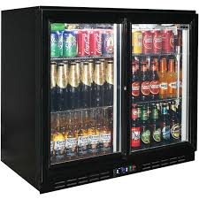 rhino back bar 2 sliding glass door bar fridge model sg2s b