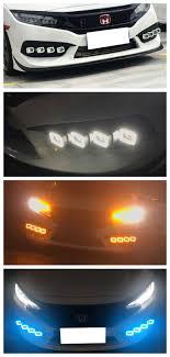 2016 Honda Civic Fog Light Assembly White Ice Blue Amber 3 Color Switchback Led Daytime Running