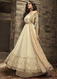 Best Designer Salwar Suits Online Off White Mohini Net Designer Anarkali Suit Online