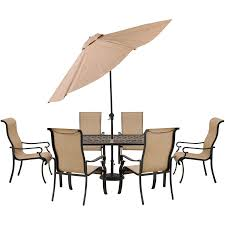 Outdoor dining sets with umbrella Outdoor Seating Hanover Brigantine 7piece Outdoor Dining Set With Casttop Table And Ft Umbrella Brigdn7pcsu Target Hanover Brigantine 7piece Outdoor Dining Set With Casttop Table