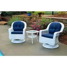 white patio furniture. biloxi outdoor white resin wicker 3piece swivel glider set with blue cushions patio furniture r