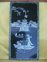 image is loading vietnamese raised mother of pearl inlay black lacquer  on vietnamese wall art mother of pearl with vietnamese raised mother of pearl inlay black lacquer wall hanging