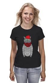 Футболка <b>классическая Кот</b> Хипстер #635403 – заказать женские ...