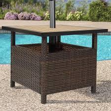 patio umbrella stand wicker rattan outdoor furniture