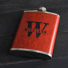 personalized engraved leather hip flask gift