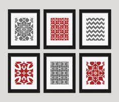 red and grey art prints modern art print set home decor set of on grey red wall art with cool idea spray paint goodwill rummage sale or dollar store frames