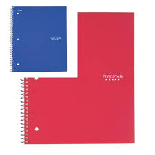 Five Star Spiral Notebook Graph Ruled 1 Subject 8 5 X 11 Inches 100