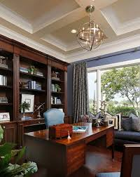 a modern chandelier can add a nice contemporary touch to a more traditional home office design
