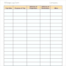 Mileage Log Form Template Business Excel Free Download