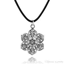 whole vintage bohemian ethnic gypsy tibetan silver plated hollow flower pendant rope chain necklace women turkish indian jewelry 6 black pendant