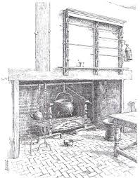 another contrivance for turning a spit was an iron fan set up in the chimney flue it was kept in motion by the draft passing up the chimney