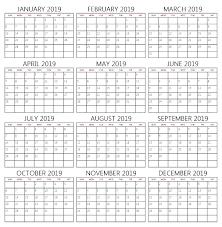 Calendar Doc Full Year Calendar For 2019 Free Printable 2019 Calendar