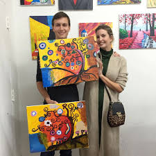 the couple channeled their inner picasso for a date night at new york s painting lounge