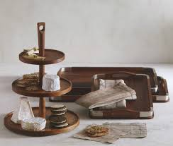 triple tiered wooden pedestal food and cheese serving tray to view additional images