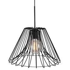 matte black wire frame ceiling pendant light