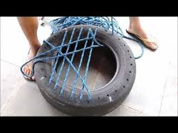 como fazer banco puff de pneu e corda