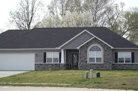 House With Black Trim Gray Stone White Trim Black Shutters Google Search New Home