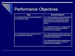 the persuasive essay an instructional design model ppt  14 performance objectives