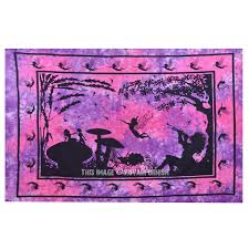 purple and pink alice in wonderland fairy wall tapestry tie dye bedding