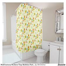 midcentury modern tiny bubbles pattern shower curtain