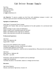 Driver Resumes Cab Driver Resume Sample Resume For Driver Resume