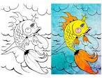 Картинка раскраска золотой рыбки