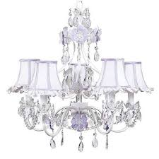 jubilee collection flower garden lavender and white five light mini chandelier with ruffled edge lavender