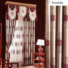 custom made luxury geometric joyous linen curtains traditional chinese style curtains living room eco friendly