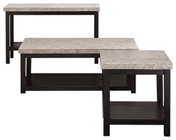 3 piece marble top coffee table set