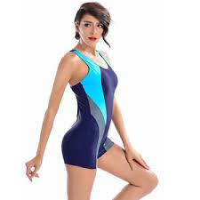 Image Is Loading Womens One Piece Swimsuit Boyleg Swimwear Sports Short