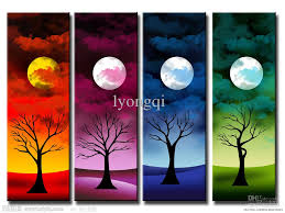 Hand-painted Hi-Q modern wall art home decorative abstract landscape oil  painting on canvas Moon Trees colors 4pcs/set framed