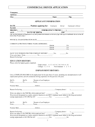 blank job application form templates in pdf word excel blank commercial driver application
