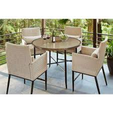 wicker bar height dining table: aria  piece patio high dining set