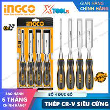 Bộ 4 đục gỗ cầm tay đầu dẹp INGCO HKTWC0401 đủ kích cỡ thép Cr-V siêu cứng  chống rỉ sét điêu khắc, tiện gỗ đa năng [XTOOLs][XSAFE]