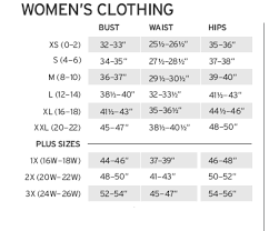 Womens Clothing Size Chart Inches Bust Waist Hips