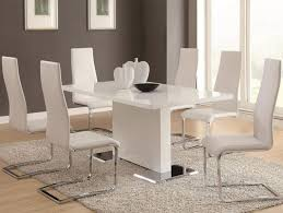 stainless steel table legs contemporary formal dining room sets wooden floor ideas comfy twin white chairs