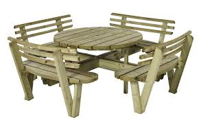 round picnic table 237cm with backrest impregnated northern pine wood