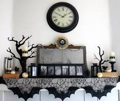 Spooky Black Cobweb & Bat Laced Halloween Mantel