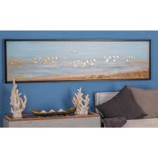 white birds flying framed hand painted canvas wall art 47462 the home depot on rectangular framed wall art with litton lane 19 in x 71 in white birds flying framed hand painted