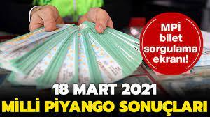 Milli Piyango çekiliş sonuçları 18 Mart 2021