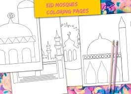 Muslim Kids Eid Mosque Coloring Pages Eid Coloring Pages Etsy