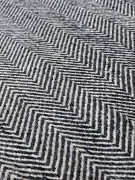 chevron pattern black and white 100 pure wool rug made by hand