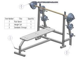 olympic flat bench press with plate storage plan subassembly list