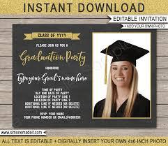 Graduation Photo Invitations Template Gold Glitter Chalkboard