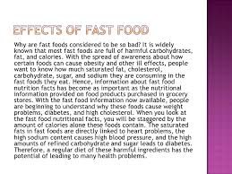 effects of fast food power point effects of fast food<br