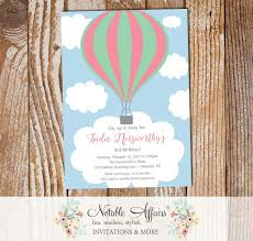 Balloon Birthday Invitations Pink Mint Hot Air Balloon Birthday Invitation On Clouds Notable