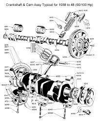 flathead parts drawings engines crankshaft camshaft assy for 1940 to
