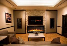 inch cynergy pebble stone builtin wall mounted electric fireplace
