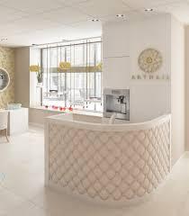 Modern salon reception desk designs.