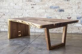 custom made live edge walnut waterfall coffee table waterfall edge table